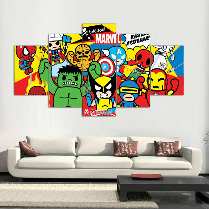 5 panels canvas prints tokidoki marvel artwork canvas painting poster home decor fashion wall art for living room in painting calligraphy from home