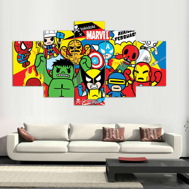 Attractive 5 Panels Canvas Prints Tokidoki Marvel Artwork Canvas Painting Poster Home  Decor Fashion Wall Art For