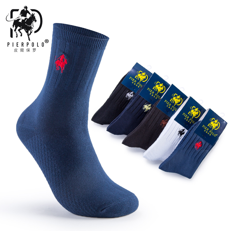 Brand Men Pier Polo Embroidery Calcetines Happy Meia Men's   Socks   Business Cotton   Socks
