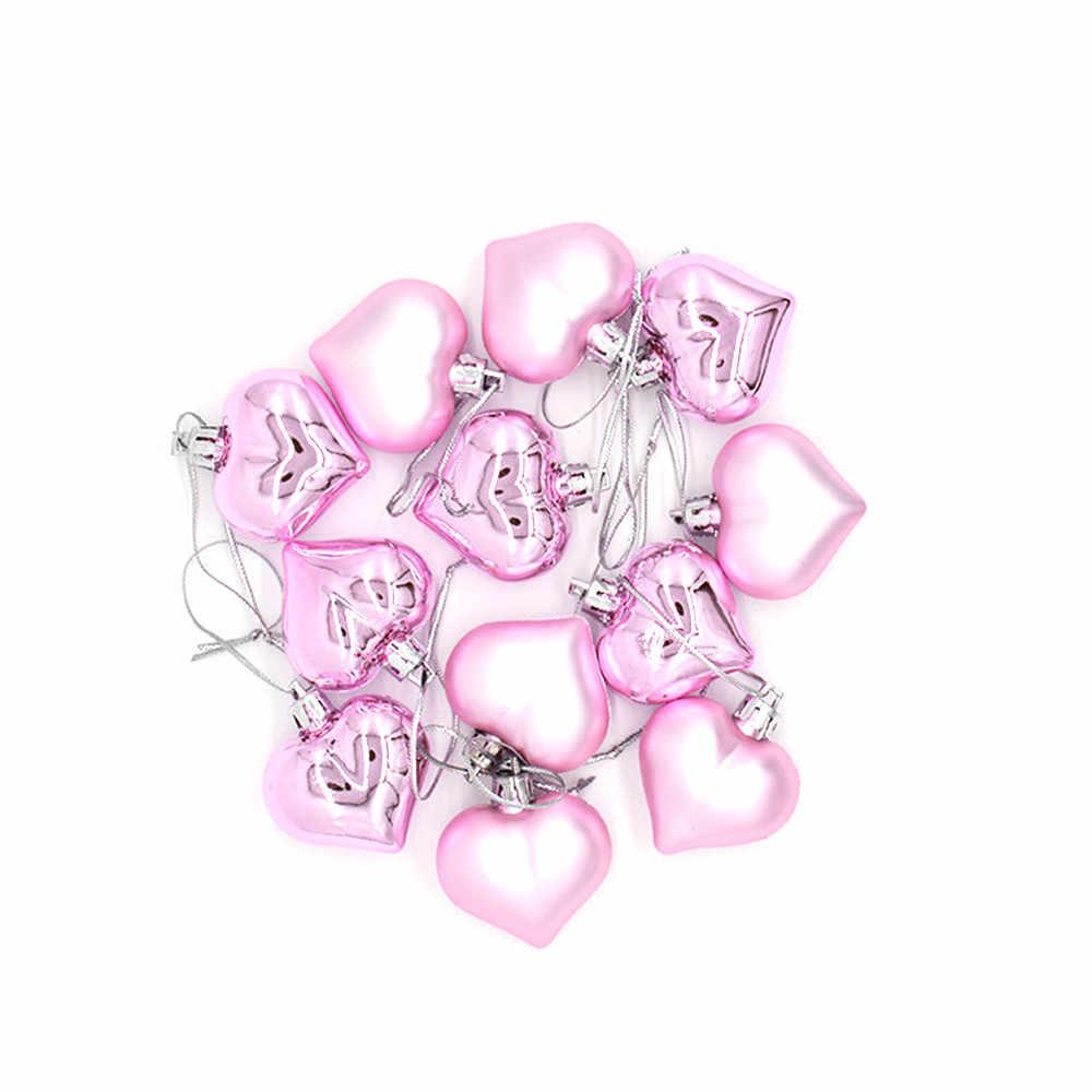 12 sztuk choinka dekoracja pokoju serce w kształcie serca piłka rekwizyty do dekoracji dla DIY materiały na przyjęcie świąteczne prezenty