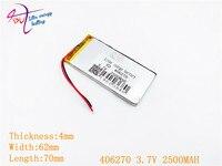 3, 7 в 2500 мач 406270 406070 литий-полимерный литий-полимерная ионно-литиевый аккумулятор ячейки для МР3 МР4 МР5, GPS и мобильный по Bluetooth