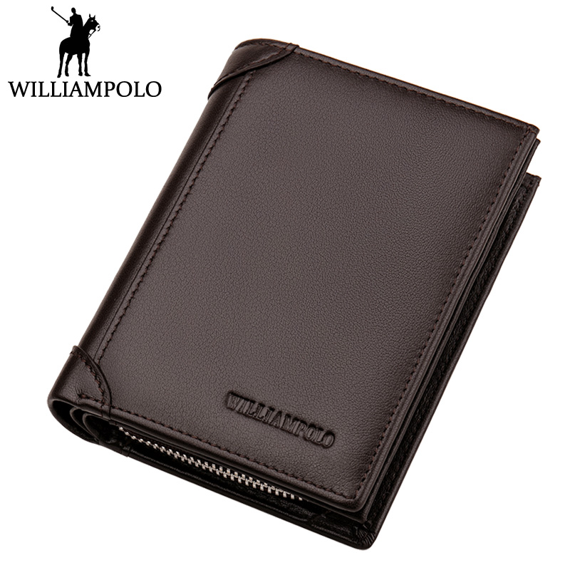 WILLIAMPOLO Upscale Men Wallet Genuine Leather Short Purse With 12 Card Holder Fashion Brand Black Brown BF Birthday Gift Wallet williampolo 2017 card wallet men 10 card slots genuine leather button closure fashion long men wallet polo174