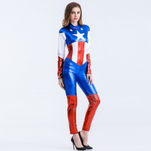 Fantasia Halloween font b Sexy b font Captain America Costume Superhero Long Jumpsuit for Women Classic