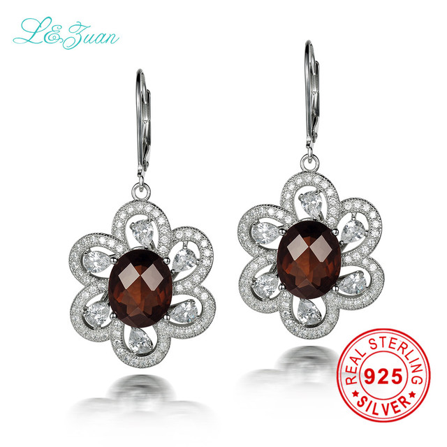 L Zuan 925 Sterling Silver Natrual 6 68ct Smoky Crystal Brown Stone Flower Drop Earring Jewelry For