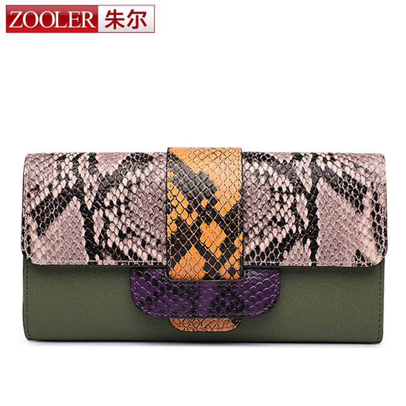 ZOOLER Women Wallets Long Snake Real Leather Wallet Female Serpentine Clutch Coin Purse Card Holder Ladies Fashion Brand Wallet women leather wallets v letter design long clutches coin purse card holder female fashion clutch wallet bolsos mujer brand