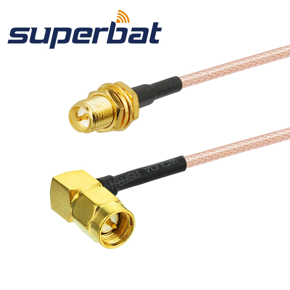 Superbat RF Coax Cable SMA Male Plug Right Angle To RP-SMA Female Jack RG316 40cm Wifi Antenna Extension Cable