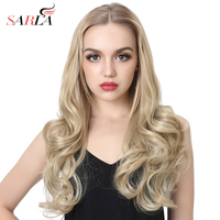 SARLA 20'' Curly U Part Half Wig For Black Women Blonde Synthetic Hair Wigs Hair Extension Clip ins Kosher Wig UW10