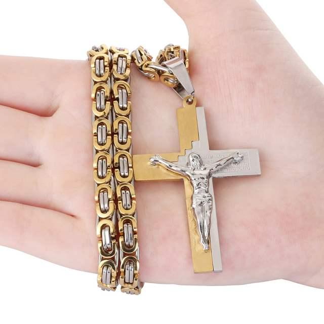 Crucifixo Jesus Cristos Bíblia Cruz de Aço Inoxidável da Cor do Ouro Colar  Pingente Homens Jóias 1c9ab0126e