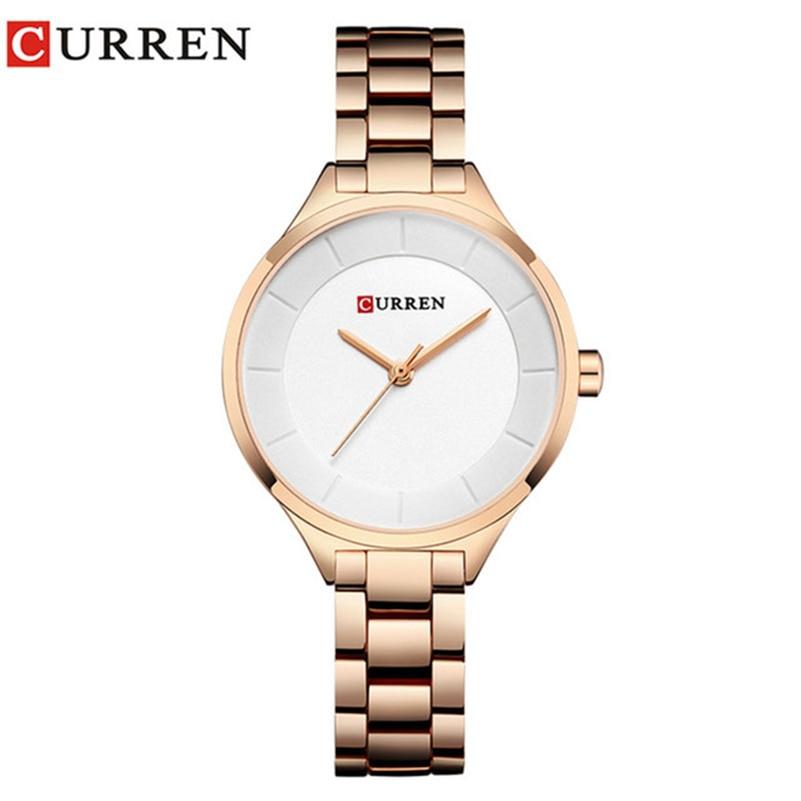 Curren 9015 Women Watches Luxury Gold White Full Steel Dress Jewelry Quartz Watch Ladies Fashion Elegant Clock Relogio Feminino цена
