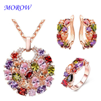 MOROW Fashion Colorful Zirconia Necklace Ring Earrings Crystal Jewelry 3pc/Sets Women Necklace Ring Earrings Set for Femme Gifts