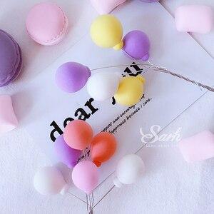 Image 5 - 3Pcs สีดำสีขาวสีชมพูสีฟ้าสีส้มสีม่วงคอลเลกชันบอลลูนเค้ก Topper สำหรับตกแต่งปาร์ตี้ขนมหวานน่ารักของขวัญ