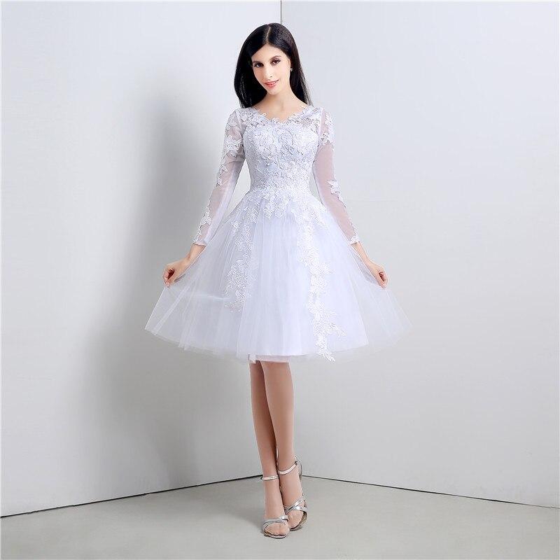 De Manga larga vestido de novia corto Hasta La Rodilla Apliques de Encaje  Princesa Del Vestido