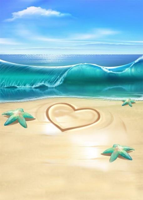 Cielo Blu Del Vinile Panno Onda Del Mare Spiaggia Stella Marina Love