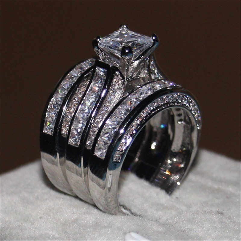 Engagement-Rings-Set Silver-Color Cubic-Zirconia Fashion Women Luxury 3pieces Wholesale