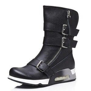 Image 2 - FEDONAS najnowsze kobiety kliny wysokie obcasy buty ze skórki cielęcej klamry Punk buty motocyklowe damskie miękkie skórzane wysokie ciepłe buty