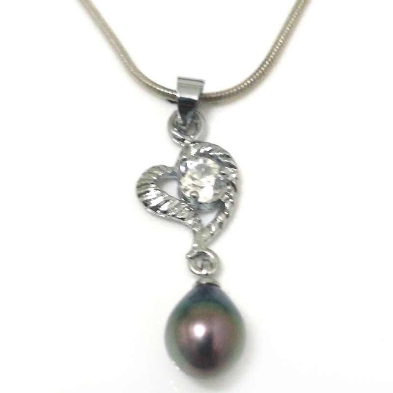 18 дюймов циркониевое Сердце Стиль 8-9 мм натуральный Лавандовый капля жемчуг 925 серебро подвеска-ожерелье