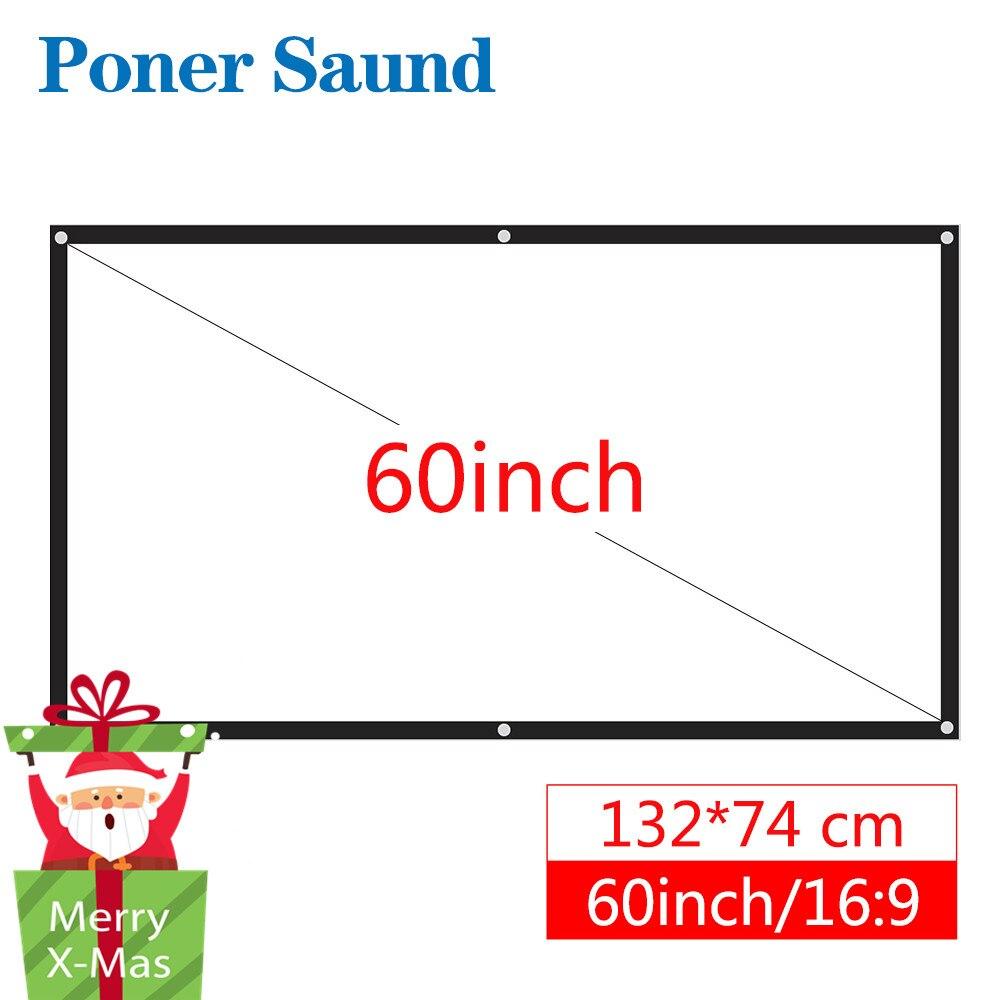 Poner Saund 60 100 pouces Projecteur Écran 16:9 Portable En Plastique Rideau pour HD Projecteur Home Cinéma Cinéma En Plein Air Blanc Rideau