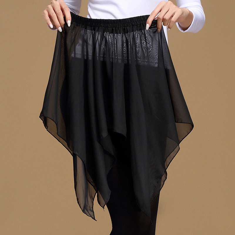Dynamic Unearthly Black Latin Dance Skirt Irregular Yoga Hip Scarf Cheap Chiffon Skirt For Women