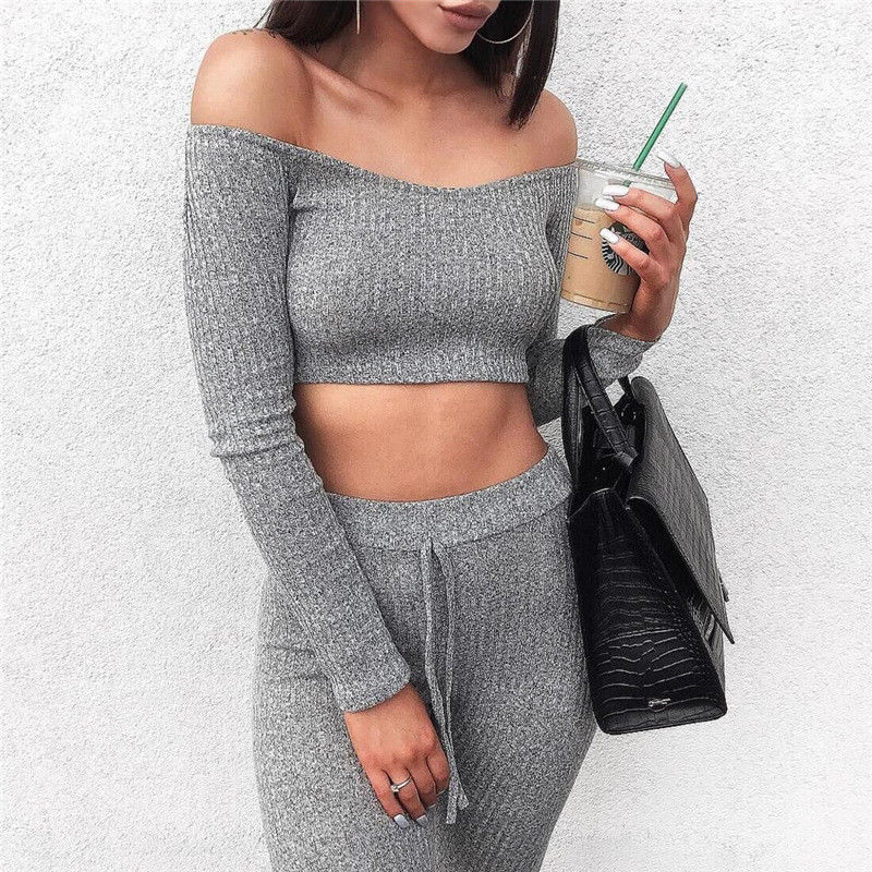 2Pcs Women Tracksuit Fashion Ladies Autumn Clothes Sets Sexy Off the Shoulder Crop Tops Stretchy Pants Sets Knitted Casual Suit