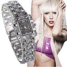 Роскошный Серебряный браслет часы Для женщин часы женские Модные часы женские часы reloj mujer relogio feminino montre femme