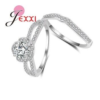 58b0feac14ad JEXXI modernos anillos de plata de ley 925 para mujer con ajuste de cristal  CZ AAAA + anillo de compromiso de boda criatl