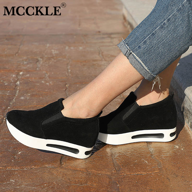 MCCKLE Autumn Women Casual Platform Sneaker Female Suede Slip On Creepers Shoes Woman Slimming Elastic Band Breathable Footwear цена