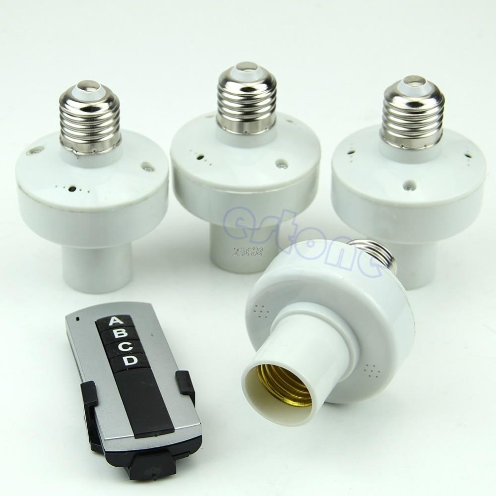 Wireless Remote Control Light E27 Lamp Bulb Holder Cap Socket Switch 4PCS/SET JUL31_20