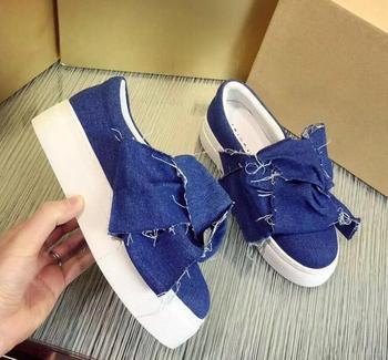 BONJEAN/Модная женская обувь на плоской подошве с большим бантом; Повседневная обувь синего цвета с закругленным носком; Женские лоферы черног...