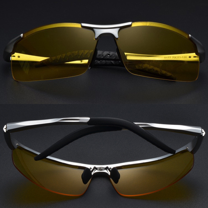 2019 Aluminium Polarized Night Driving Sunglasses Men Yellow Lens Glare Block Anti-Glare Night Vision Driving Glasses Goggles