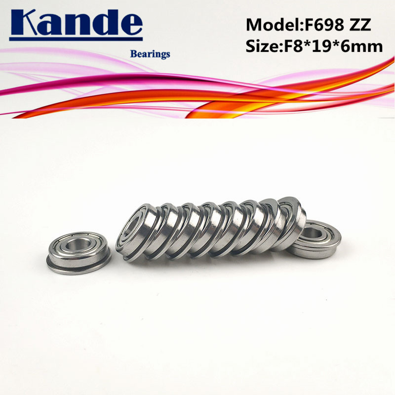 Kande Bearings F698ZZ 10pcs ABEC-1 F698 ZZ F698-2Z Miniature Deep Groove Ball Bearing F8*19*6mm 698 F698 image