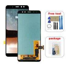 삼성 갤럭시 A8 용 AMOLED LCD 2018 A530 A530F A530DS A530N SM A530N 터치 스크린 디지타이저 LCD 디스플레이 어셈블리 무료 도구