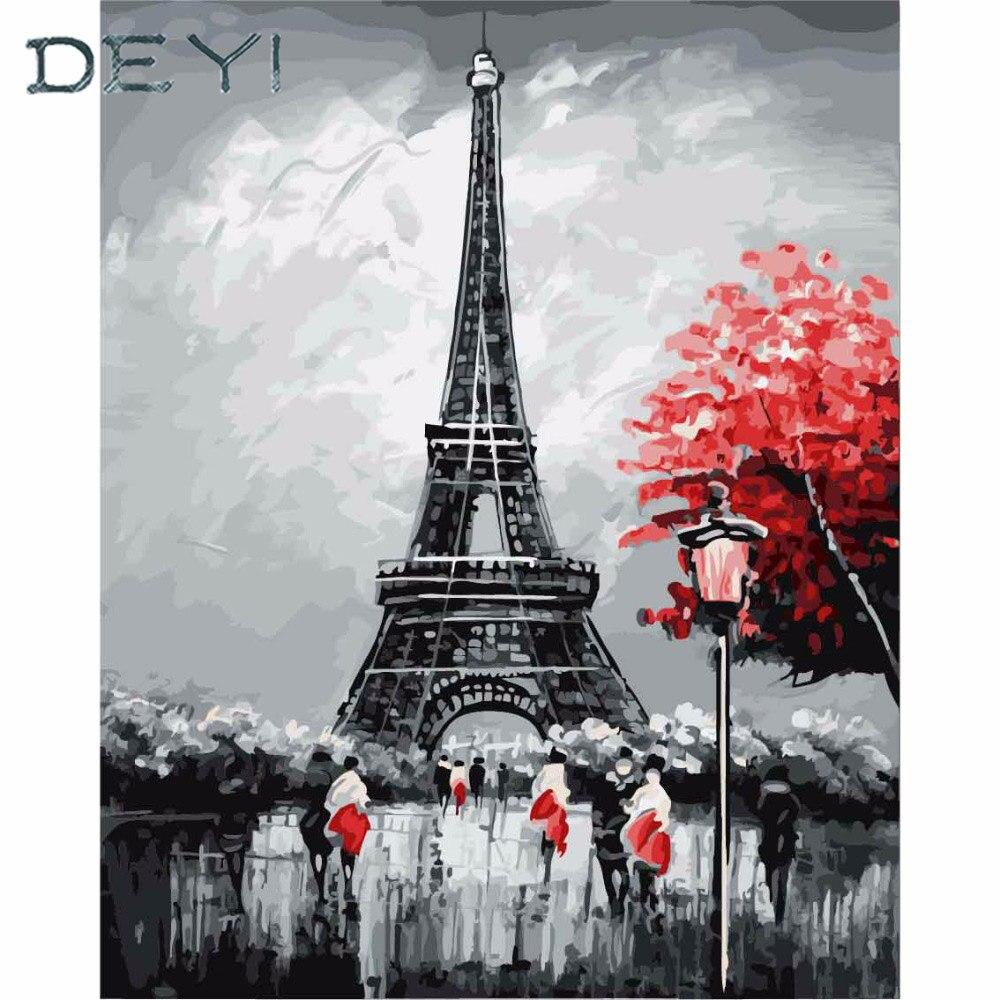 DEYI 40*50 cm Parigi Torre Eiffel Immagine tiger Pittura Modulare Da numeri su Tela DIY colorare disegno dai numeri sul muro