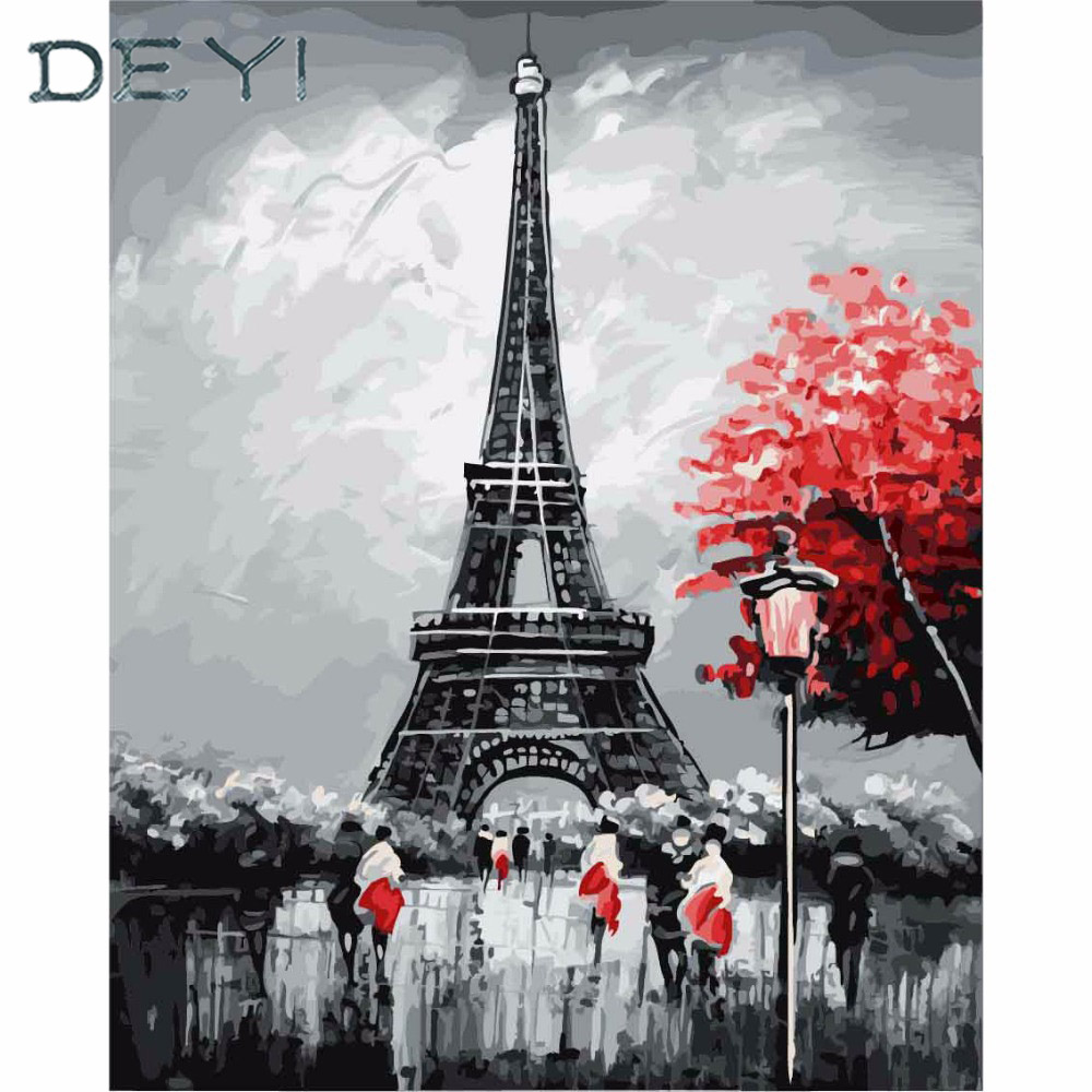 DEYI 40*50cm Paris Eiffel Tower Modular Picture tiger Painting By Numbers on Canvas DIY coloring drawing by numbers on the wall