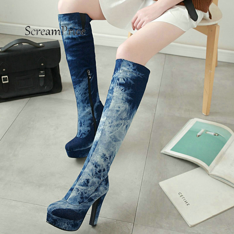 Women Platform Thick High Heel With Side Zipper Knee High Boots Fashion Round Toe Warm Winter