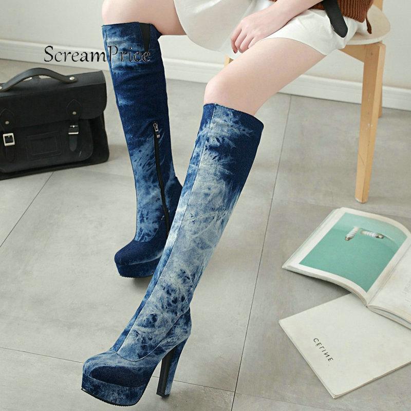 Women Platform Thick High Heel With Side Zipper Knee High Boots Fashion Round Toe Warm Winter
