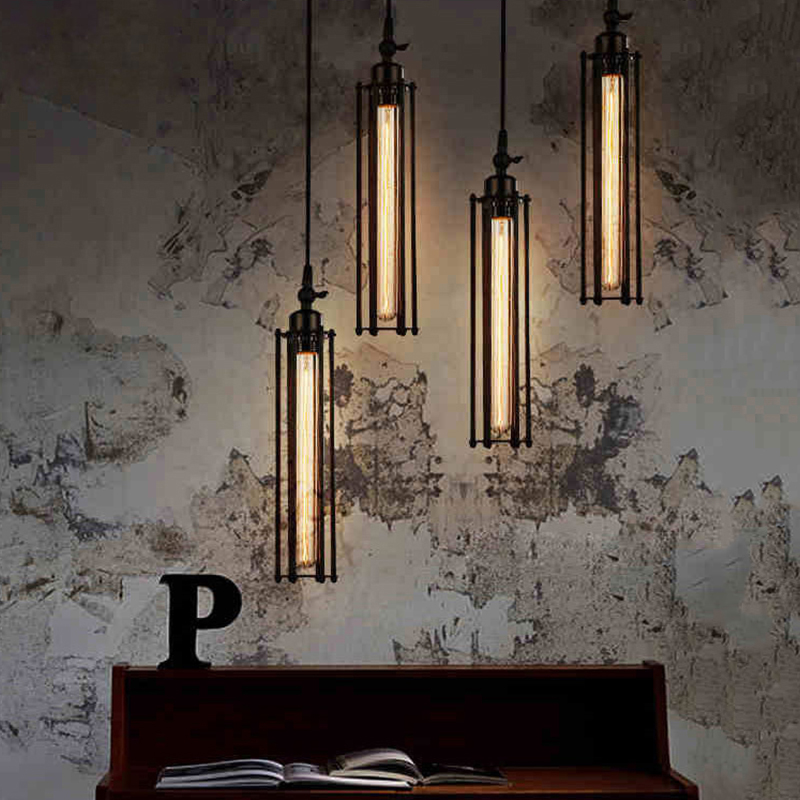 ФОТО Nordic vintage chandelier creative personality simple square bar restaurant lights bedroom modern wrought iron chandelier E27