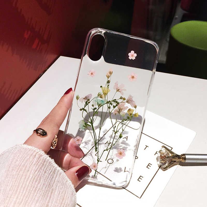 Qianliyao Secchi Reale Fiore Custodie Per iPhone X XS Max XR Caso Fatto A Mano Morbido Della Copertura Per il iPhone 6 6S 7 8 più di 11 Pro Max Cassa Del Telefono