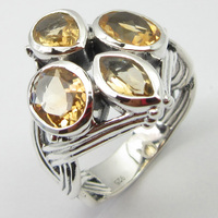 Wedding Engagement Jewelry Citrines Ring Size 8.75 Pure Silver Unique Designed