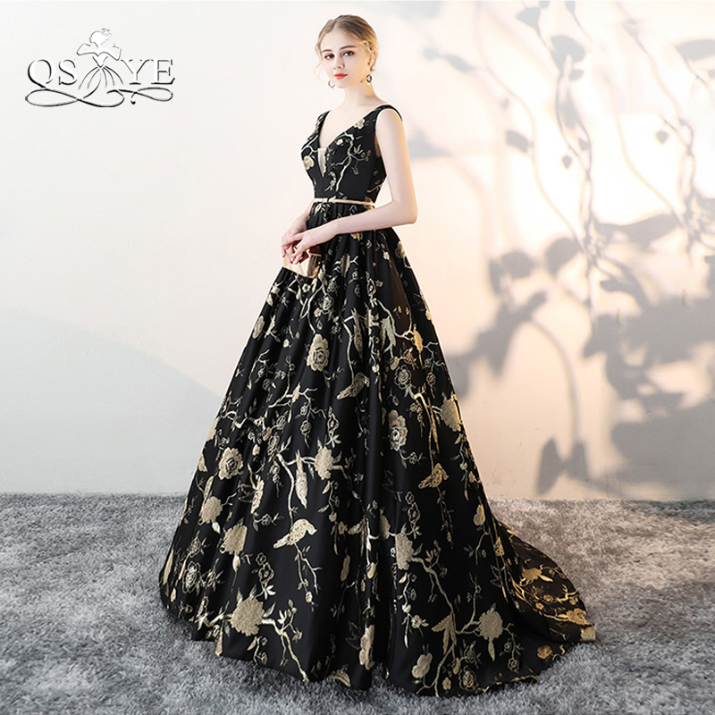 QSYYE 2018 New Long   Prom     Dresses   vestido logo Sexy V Neck Gold Sash Lace Embroidery Sweep Train Formal Evening   Dress   Party Gown