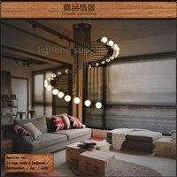 Лофт современный подвесной светильник Утюг минималистский винтовая лестница лампа падение Освещение приспособление для высокий потолок о