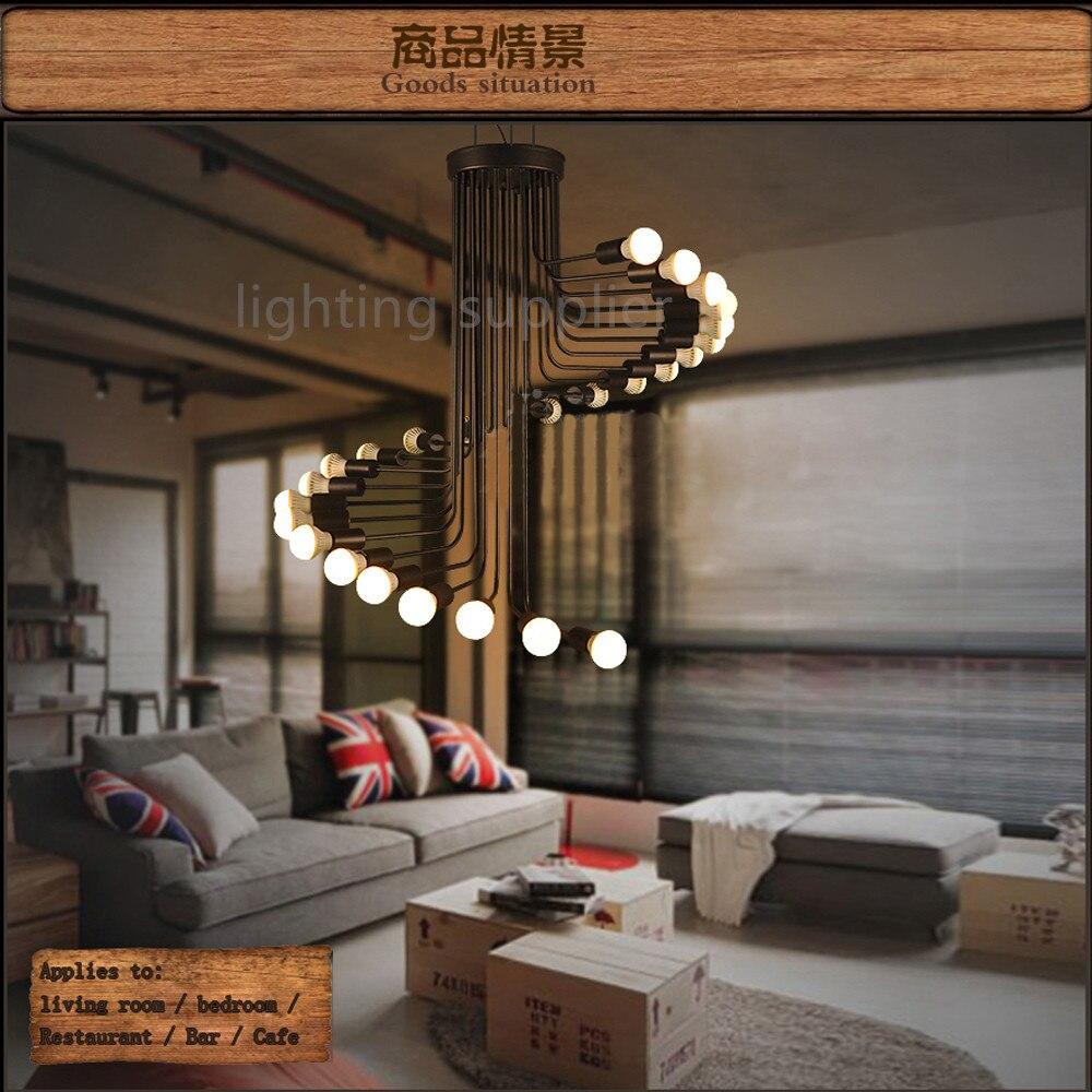 online get cheap drop lighting fixtures aliexpresscom  alibaba  - loft modern pendant light iron minimalist spiral staircase lamp drop lightingfixture for high ceiling office