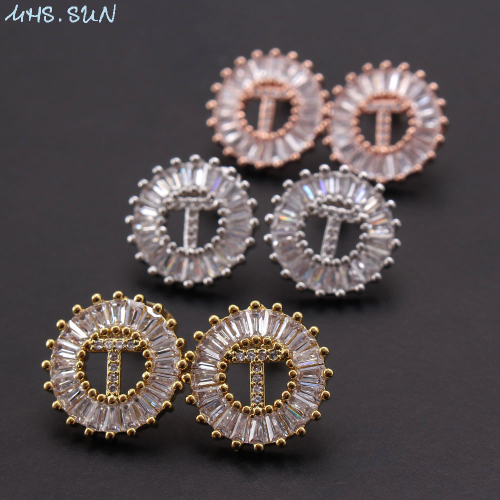 MHS.SUN 2019 Fashion AAA Cubic Zircon A-Z 26 Letter Earrings For Women Girls Stud Earring Luxury Gold Round Ear Stud Jewelry