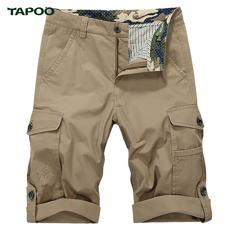 TAPOO Mens Cargo Shorts Military Straight Boardshorts Summer Beach Short Business Trousers Slim Fit Harajuku Shorts Bermuda