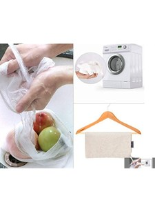 Image 5 - Reusable Cotton Vegetable Bags Home Kitchen Fruit And Vegetable Storage Mesh Bags With Drawstring Machine Washable
