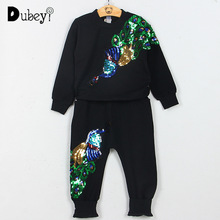New Boutique Tracksuit Outfits Long Sleeve T-shirt Trousers Sports Two-piece Suit Peacock Sequins Embroidery Outfit Sets