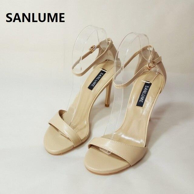 d1bdc4c87c SANLUME 10 cm Mulheres Sexy couro Genuíno salto alto sandálias Nude Vestido  de Festa bombas Sapatos