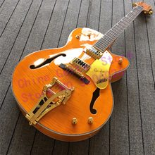 custom shop Orange GRETSCH BRIAN SETZER Jazz Style Electric Guitar Bigsby Tremolo Gold Hardware;Flamed maple top;Free Shipping(China)