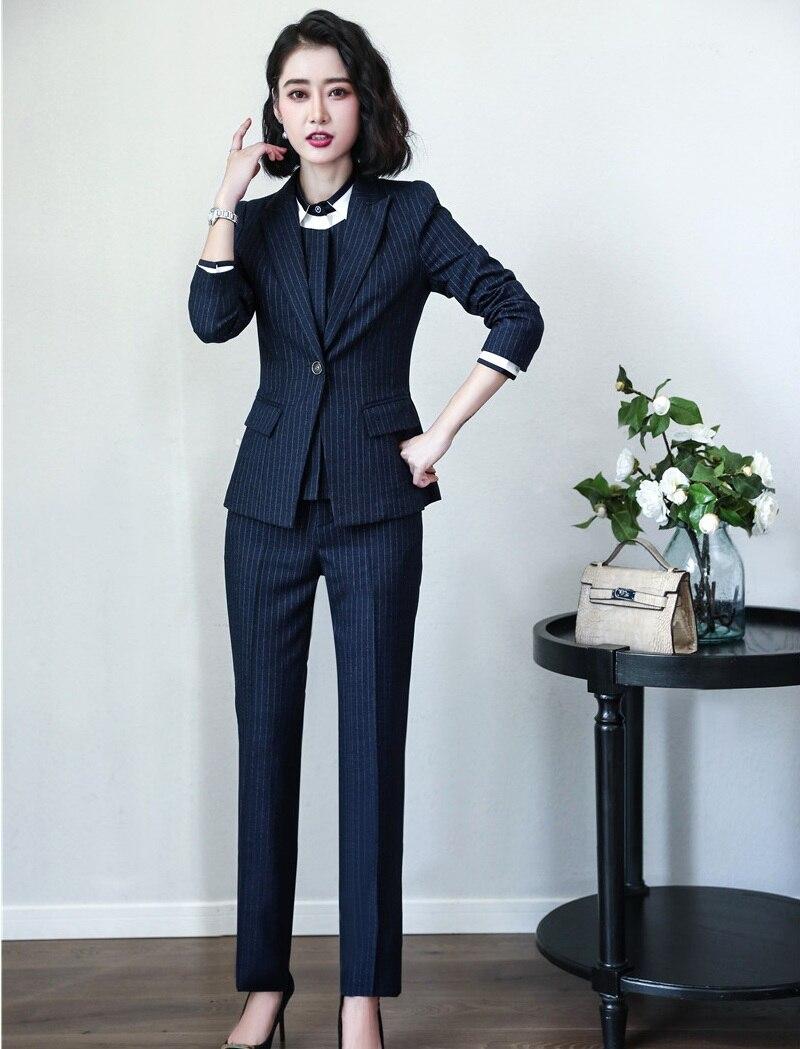 d0c22c118b9e7 Pièce Noir D affaires Veste Marine Styles Et Dames Costumes Bureau  Uniformes Ensembles Pantalon Wear Femmes ...