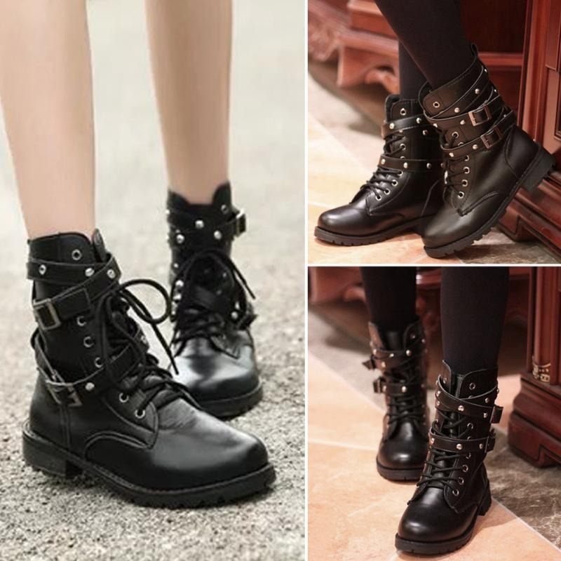 PU Leather Waterproof Punk Lace Up Belts Rivet Shoes Autumn Winter Boots Women Girls Round Toe Ankle Boots Black Botas Mujer hot sale womens pu leather shoes lace up rivet metal decoration punk style prom ankle boots for women casual footwear plus size