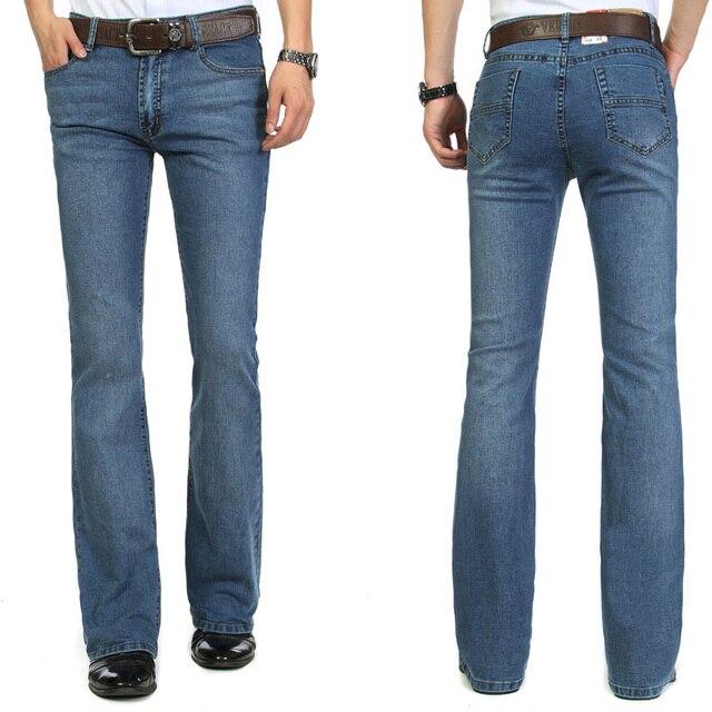 Alta calidad 2016 hombres bell bottom jeans hombre elástico Delgado Denim  corte de bota pantalones chico bf3c0dabf00
